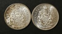 LOT OF 2 CONSECUTIVE MS TO AU 1960'S CANADIAN SILVER HALF DO