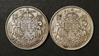 LOT OF 2 CONSECUTIVE VG TO AU 1940'S CANADIAN SILVER HALF DO