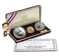 1992 OLYMPIC COMMEMORATIVE 3 COIN PROOF SET W/ OGP     30036