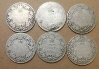 LOT OF 6 KING GEORGE V CANADIAN 80  SILVER QUARTERS COINS NO
