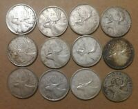 LOT OF 12 VG TO F 1950'S 1960'S CANADIAN 80  SILVER QUARTERS