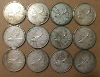 LOT OF 12 VG TO F 1960'S CANADIAN 80  SILVER QUARTERS COINS
