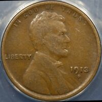 1913 S LINCOLN CENT ANACS GRADED