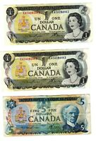 ONE 1979 CANADIAN FIVE DOLLAR BILL AND TWO 1973 CANADIAN ONE