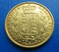 1852 VICTORIA YOUNG HEAD SHIELD BACK FULL GOLD SOVEREIGN NO