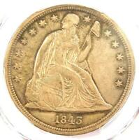 1843 SEATED LIBERTY SILVER DOLLAR $1 - PCGS AU DETAILS -  EARLY DATE COIN