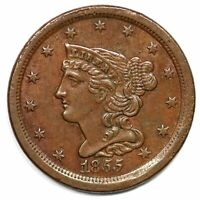 1855 BRAIDED HAIR COPPER HALF CENT LOW MINTAGE AU ABOUT UNCIRCULATED