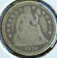 1840 WITH DRAPERY LIBERTY SEATED SILVER DIME LOW MINTAGE