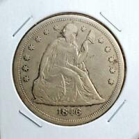 1846 SEATED LIBERTY DOLLAR -  FINE -  GREAT LOOKING PIECE - BETTER DATE
