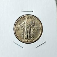 1918-S STANDING LIBERTY QUARTER - ABOUT UNCIRCULATED - BETTER DATE