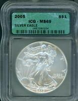 2005 AMERICAN SILVER EAGLE ASE S$1 ICG MINT STATE 69 MINT STATE 69 BEAUTIFUL PREMIUM QUALITY PQ