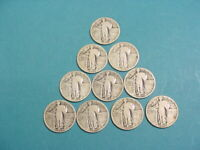 STANDING LIBERTY QUARTERS LOT OF 10 WITH READABLE FULL DATES- 1925-1930 DATES