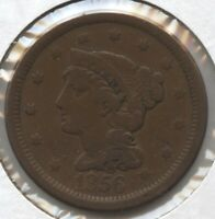 1856 BRAIDED HAIR LARGE CENT PENNY - SLANTED 5 BC722