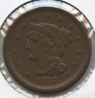 1857 BRAIDED HAIR LARGE CENT PENNY - SMALL DATE BC724
