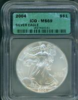2004 AMERICAN SILVER EAGLE ASE S$1 ICG MINT STATE 69 MINT STATE 69 BEAUTIFUL PREMIUM QUALITY PQ