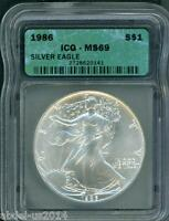 1986 AMERICAN SILVER EAGLE ASE S$1 ICG MINT STATE 69 FIRST YEAR OF ISSUE BEAUTIFUL