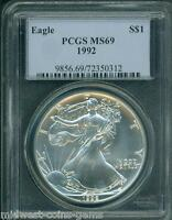 1992 AMERICAN SILVER EAGLE ASE S$1 PCGS MINT STATE 69 MINT STATE 69 PREMIUM QUALITY BEAUTIFUL