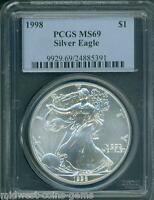 1998 AMERICAN SILVER EAGLE ASE S$1 PCGS MINT STATE 69 PREMIUM QUALITY BEAUTIFUL