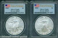 2-COINS: 2003 & 2002 AMERICAN SILVER EAGLES ASE S$1 PCGS MINT STATE 69 FIRST STRIKE FS
