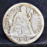 1891 SEATED LIBERTY DIME - VG 23050