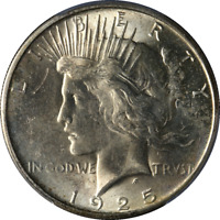 1925-S PEACE DOLLAR PCGS MINT STATE 62 DECENT EYE APPEAL FANTASTIC LUSTER