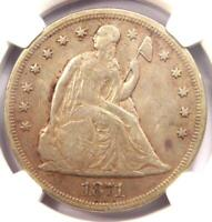 1871 SEATED LIBERTY SILVER DOLLAR $1 - CERTIFIED NGC EXTRA FINE  DETAIL -  DATE COIN