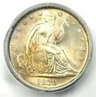1838 SEATED LIBERTY DIME 10C SMALL STARS COIN - CERTIFIED ICG MINT STATE 60 DETAIL UNC