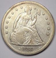 1843 SEATED LIBERTY SILVER DOLLAR $1 - EXTRA FINE  DETAILS EF -  EARLY TYPE COIN