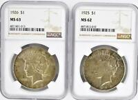2-NGC GRADED PEACE DOLLARS; 1925 MINT STATE 62 & 1926 MINT STATE 63