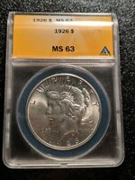 1926 PEACE DOLLAR, ANACS LUSTROUS CHOICE MINT STATE 63