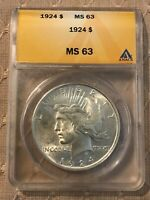 1924 P PEACE DOLLAR $1 ANACS MINT STATE 63