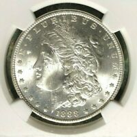 1888-O NGC MINT STATE 64 MORGAN SILVER DOLLAR-GENE L. HENRY GREAT NORTHWEST REF088
