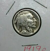 1919 S BUFFALO NICKEL    KEY DATE    FRESH OUT OF COIN BOOK    HARD TO FIND
