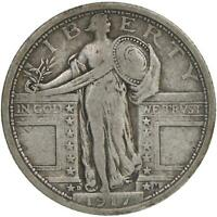 1917 D STANDING LIBERTY QUARTER TYPE 1 90 SILVER FINE FN SEE PHOTOS B269