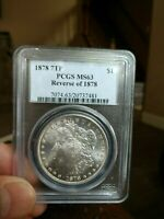 1878 REVERSE OF 1878 7TF VAM 114 2 MORGAN DOLLAR PCGS MS 63 SHIPS INSURED FREE