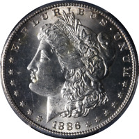 1886-S MORGAN SILVER DOLLAR PCGS MINT STATE 63 GREAT EYE APPEAL STRONG STRIKE