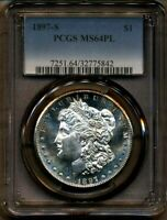 1897-S MORGAN PCGS MINT STATE 64 PL PROOF LIKE SILVER DOLLAR COIN BRIGHT SAN FRANCISCO