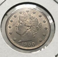 STUNNING 1900 US LIBERTY HEAD V-NICKEL MS TONING ON REVERSE A MUST HAVE