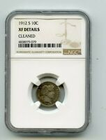 1912 S SILVER BARBER DIME  XF DETAILS  NGC