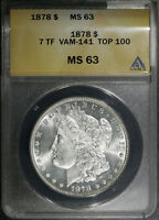 1878 P 7TF VAM 141 TOP 100 MS 63