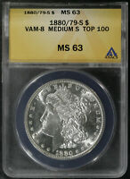 1880 S '80 OVER '79 VAM 8 MEDIUM S TOP 100 MS 63