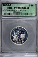 2000   S ICG PR69 DCAM SOUTH CAROLINA STATEHOOD QUARTER  B18