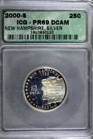 2000   S ICG PR69 DCAM NEW HAMPSHIRE STATEHOOD QUARTER  B187