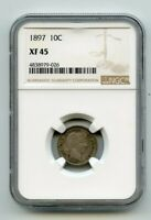 1897 SILVER BARBER DIME  XF45  NGC