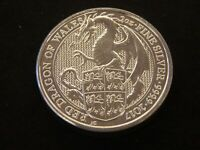 2017 QUEENS BEAST RED DRAGON OF WALES 2 OZ .999 FINE SILVER