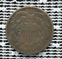 1865 TWO-CENT 2C SHIELD COIN GOOD