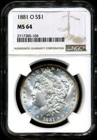 1881-O MORGAN NGC MINT STATE 64 UNCIRCULATED LOVELY SILVER DOLLAR COIN NEW ORLEANS MINT