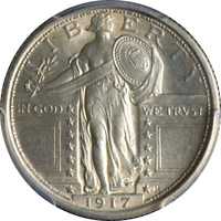 1917-P TYPE 1 STANDING LIBERTY QUARTER PCGS MINT STATE 63FH GREAT EYE APPEAL