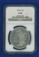 1892 S NGC EXTRA FINE 40 MORGAN SILVER DOLLAR $1  KEY DATE 1892-S NGC EXTRA FINE -40