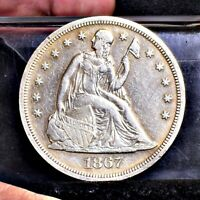 1867 LIBERTY SEATED DOLLAR - EXTRA FINE  DETAILS 24585